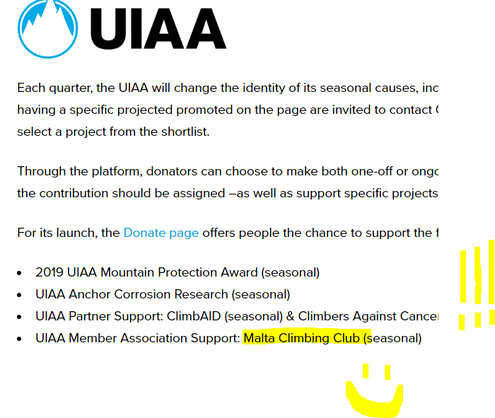 UIAA donate page image
