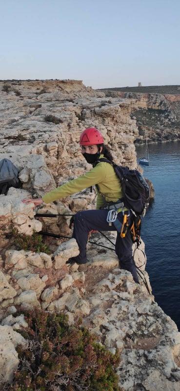 Marie Claire Gatt at a sea bird colony in Malta